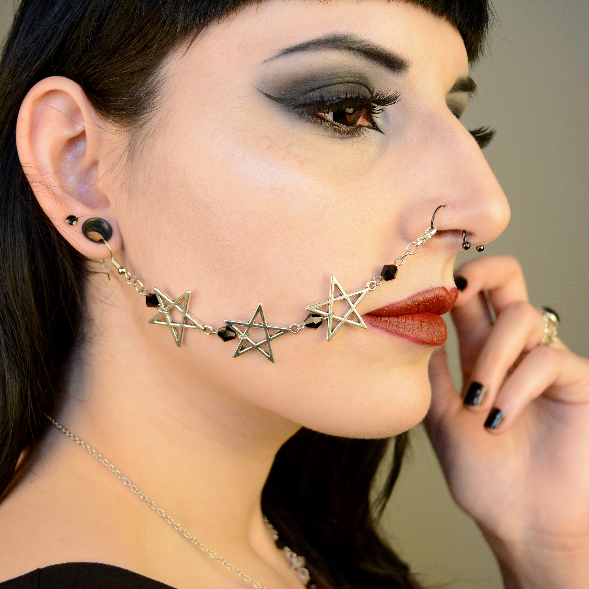 Ayame Designs handcrafted beaded pentagram nose to ear chain