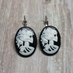 Ayame Designs stainless steel gothic skeleton cameo earrings