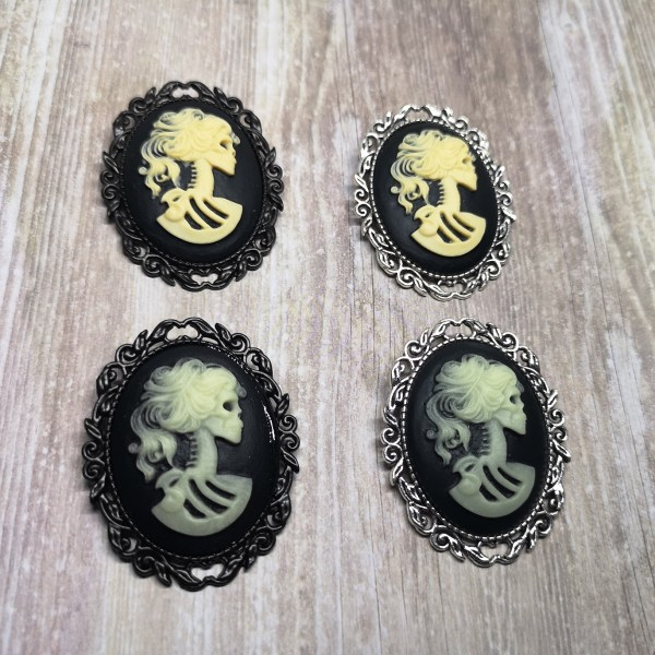 Ayame Designs gothic skeleton cameo brooch