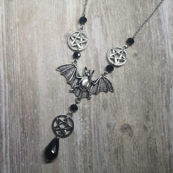 Ayame Designs handcrafted gothic beaded bat pentacle necklace