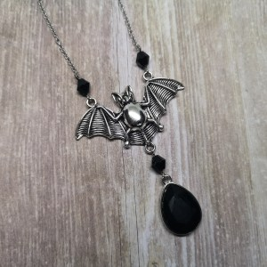 Ayame Designs handcrafted gothic bat necklace