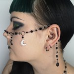 Ayame Designs handcrafted beaded moon festival face chain
