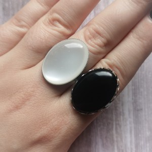 Ayame Designs stainless steel resin adjustable ring