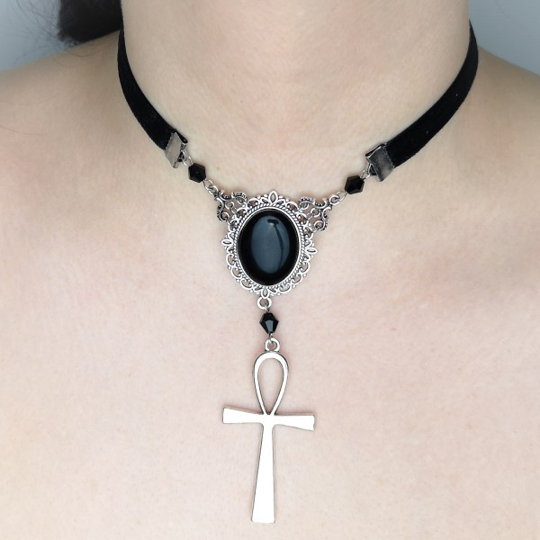 Ayame Designs handcrafted gothic beaded choker necklace
