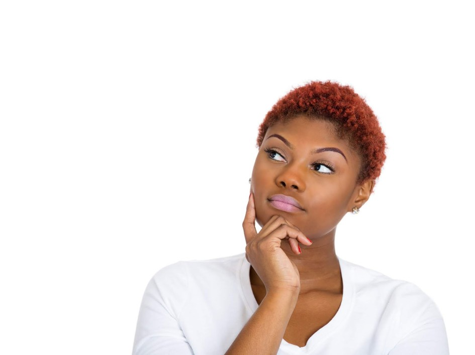 young black woman in thought
