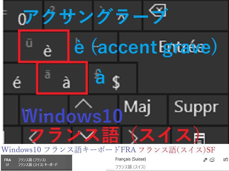 アクサングラーブ à, é フランス語(スイス)windows10