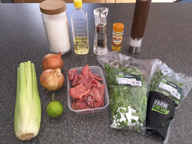 Ingredients for Khoresht-e Karafs (lamb and celery stew)