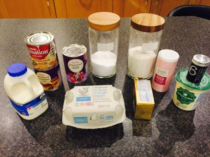 Ingredients for Nicaraguan Tres leches (Three milks cake)