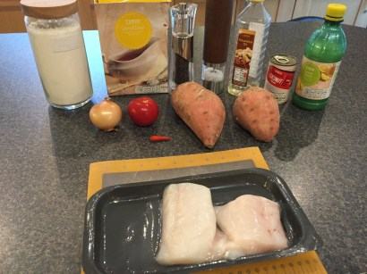 Ingredients for Coconut Fish with Sweet Potato Marshall Islands style!