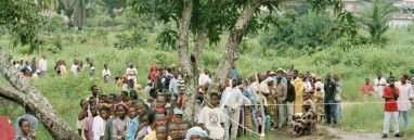 Liberians queueing to vote in the presidential elections