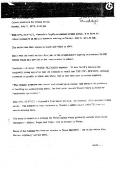 The Owl Service - Granada Press Release (1978) 1-Alan Garner-A Year In The Country