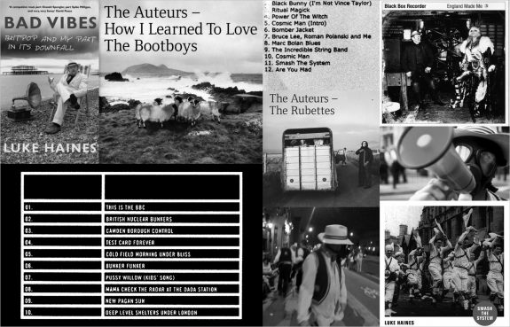 Luke-Haines-The Auteurs-Black Box Recorder-album and single covers and tracklisting-video still