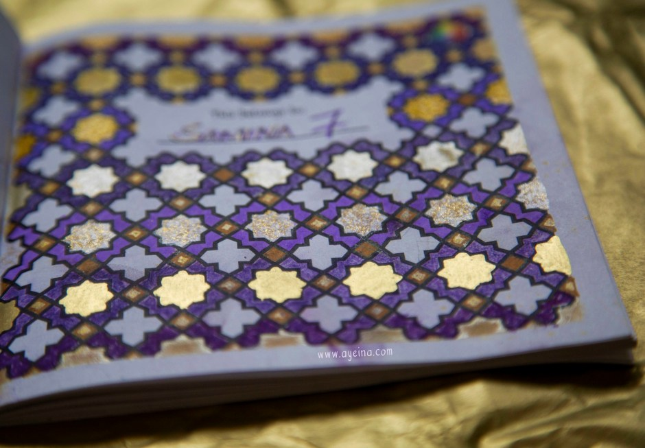 islamic moroccan pattern to color purple and gold ayeina