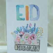 eid mubarak watercolor flowers card