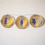samina farooq purple flowers gold paint blob circle