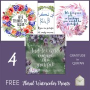quranic watercolor art, watercolor wreath, fruits illustration, tropical plants set, attitude of gratitude in islam, disable muslim, deaf muslimah, meriem, give thanks to Allah, grateful to Allah, #AlhamdulillahForSeries gratitude journal for muslims
