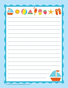 free summer printables - writing paper 4