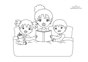 coloring pages about family - bedtime story