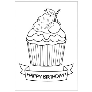 cute greeting cards to print and color - creamy cupcake