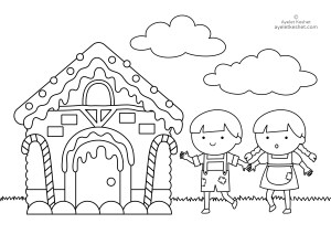 Coloring pages about fairy tales for kids ayelet keshet for Candy house coloring pages