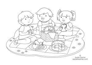 coloring pages about friendship - picnic