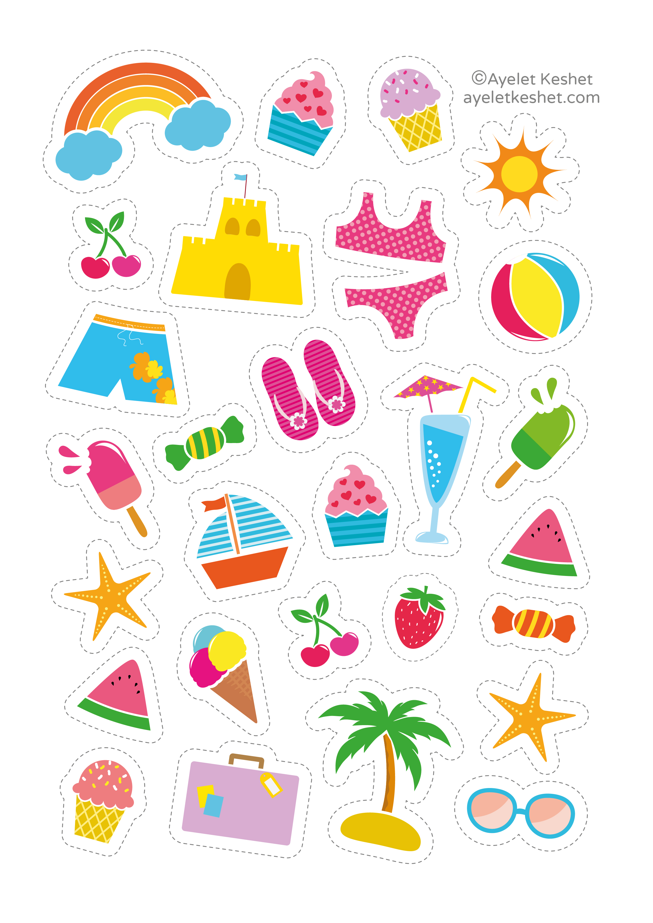 graphic regarding Cute Printable Stickers identified as Free of charge printable stickers - Ayelet Keshet