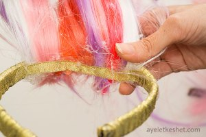 DIY unicorn horn headband with bangs - step 12