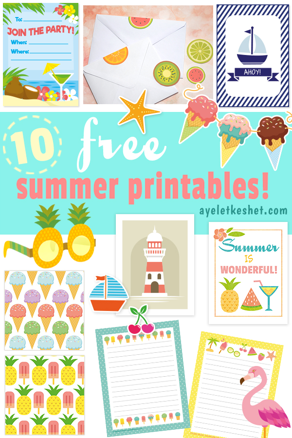 image about Summer Printable referred to as 10 Cost-free summer season printables - celebration, residence and stationery
