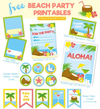 free summer printables - beach party kit