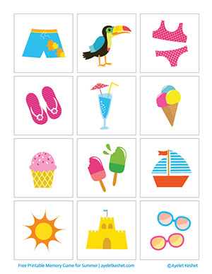 photograph relating to Memory Games Printable titled Totally free Printable Memory Video game for Little ones With Shots for Summer months