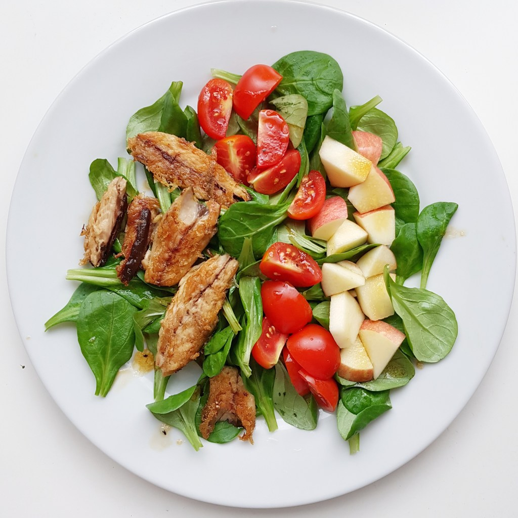 fried mackerel and salad
