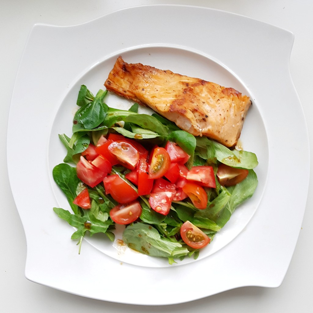 pan-fried salmon and salad