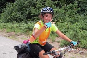 Merrowvista summer camp Voyageur woman smiles on hilltop