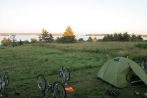 Merrowvista Voyageur bikes and campsite at sunset