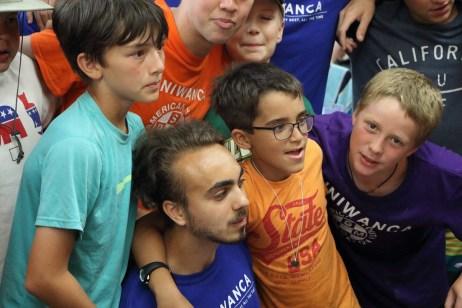 miniwanca, boys camp, gathering, dining hall, summer camp, michigan
