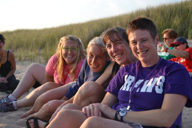 friends on the Lake Michigan beach