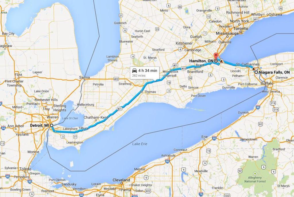 Detroit ve Niagara Falls arası yol güzargahımız