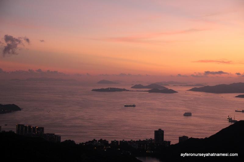 Hong Kong Adası-Victoria Tepesi'nden gün batımı-001