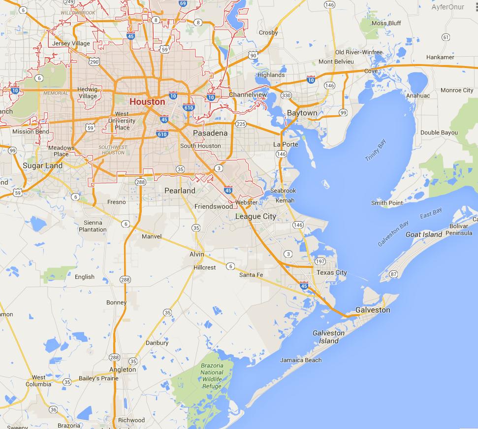 Houston şehrinin haritada konumu...