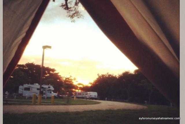 Kamp alanında güzel bir güne başlangıç, Jetty Park - Florida