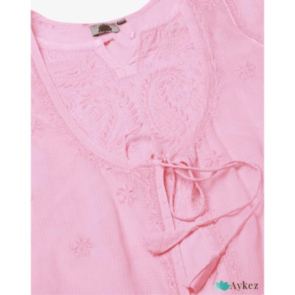 Best Hand Embroidered Pink Kota Chikankari Kurta