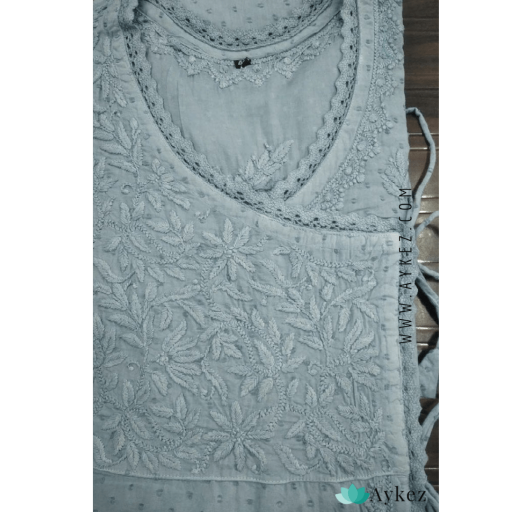 Cotton Chikankari Angrakha Kurti