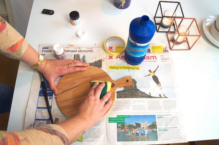 DIY houten serveerplank - schoonmaken