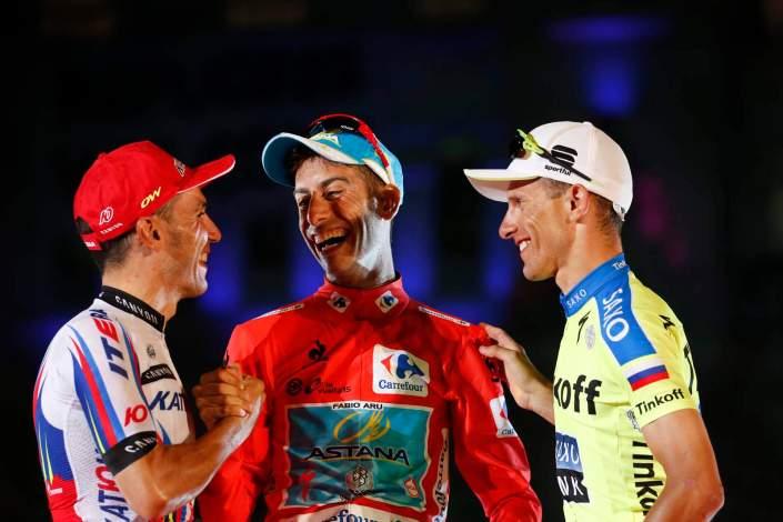 13 September 2015 70th Vuelta a Espana Stage 20 : Alcala de Henares - Madrid Final Podium 1st : ARU Fabio (ITA) Astana, Maillot Rojo 2nd : RODRIGUEZ Joaquin (ESP) Katusha 3rd : MAJKA Rafal (POL) Tinkoff - Saxo Photo : Yuzuru SUNADA