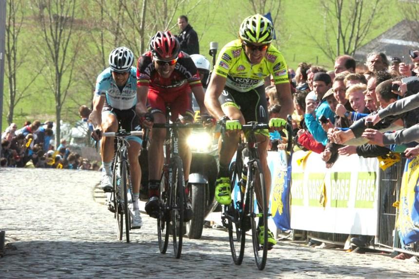 Filippo Pozzato entraîne Alessandro Ballan et Tom Boonen