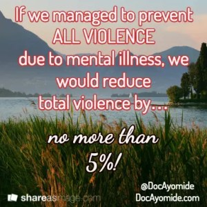 If we reduced all violence due to mental illness, we would reduce violence by only 3-5 percent