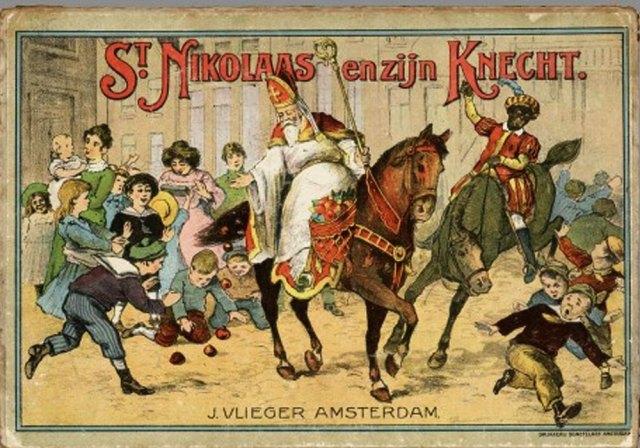 Buku bergambar karangan Jan Schenckman, Sint Nicolaas en zijn knecht (St. Nicholas dan pembantunya), yang dikatakan mempopulerkan figur St. Nicholas sebagai pembawa hadiah melalui cerobong asap. Schenckman menggambarkan St. Nicholas datang dengan kapal uap, satu moda transportasi yang mutakhir di zaman itu. Bisa jadi juga, karena St. Nicholas adalah patron dari para pelaut (selain juga patron anak-anak). Dikatakan, buku Schenckman ini adalah salah satu buku pertama yang mempopulerkan figur Zwarte Piet (piet hitam).