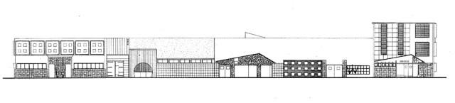 Ilustrasi fasad bangunan pabrik cokelat Cendrawasih. Sumber : Dokumentasi Lab Perkembangan Arsitektur ITS