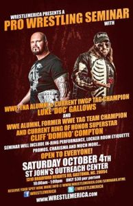 1flyer WrestleMerica Doc Gallows and Cliff Compton seminar 10-04-14 Gastonia NC
