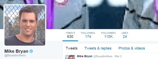 mike bryan top of twitter
